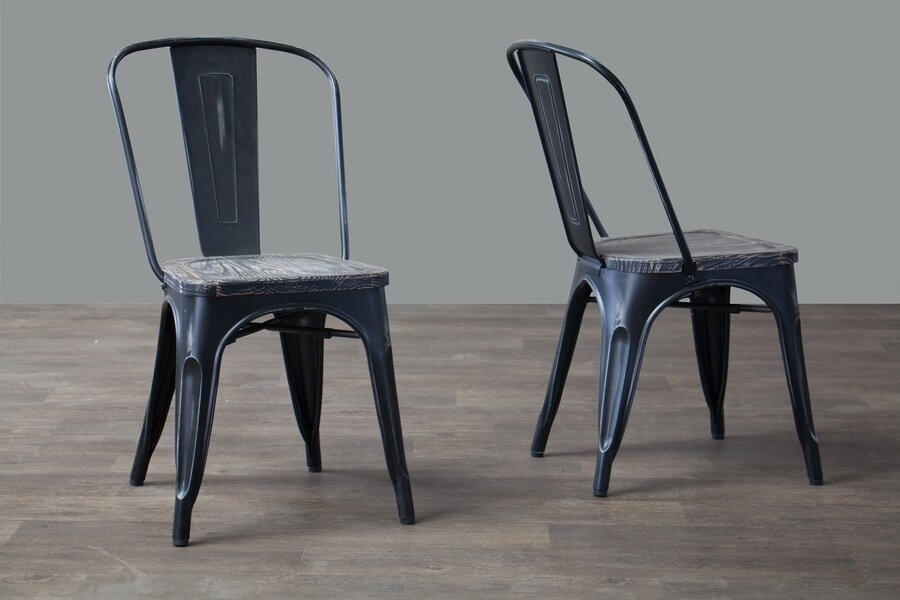 Charmant Baxton Studio French Industrial Bistro Chair, Antique Black, Set Of 2