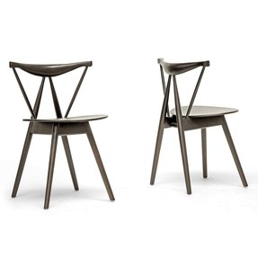 Baxton Studio Mercer Wood Modern Dining Chair, Brown, Set of 2