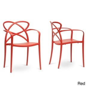 Baxton Studio Set of 2 PP-S001-Red Huxx Plastic Stackable Modern Dining Chair, Red/Dark Brown, Set of 2