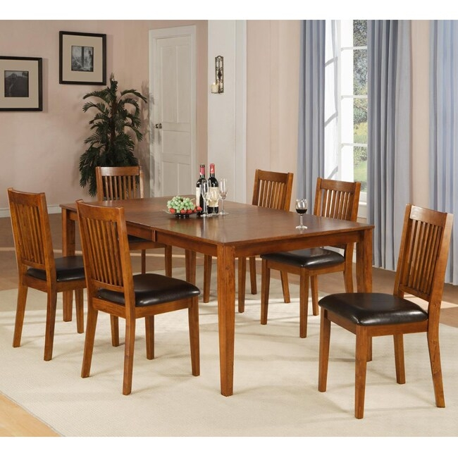 Beauville 7 piece oak finish dining table set