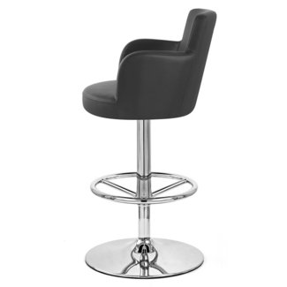 Black Chateau Adjustable Height Swivel Bar Stool with Chrome Base
