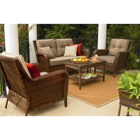 Deep seating wicker patio furniture