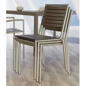 Euro Style Nathan Stacking Chair in Taupe Teak-like Slats and Stainless Steel, Set of 4