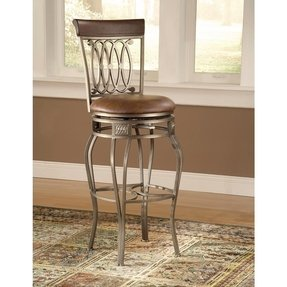 Faux Leather Wrought Iron Swivel Bar Stool