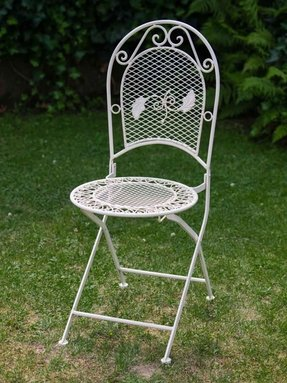 Foldable garden chair - antique style - wrought iron - cream/white - 9kg