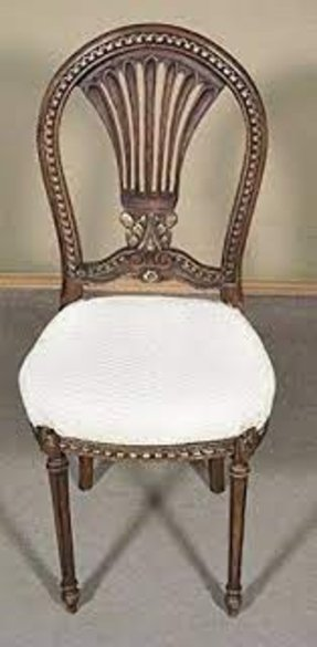 French Style Antique Finish Cream Occasional Accent Side Chair