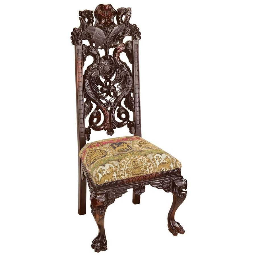 Merveilleux Hand Carved Solid Mahogany Antique Replica Knottingley Manor Chair