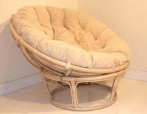 Handmade Rattan Wicker Round Papasan Chair with Cushion White Wash