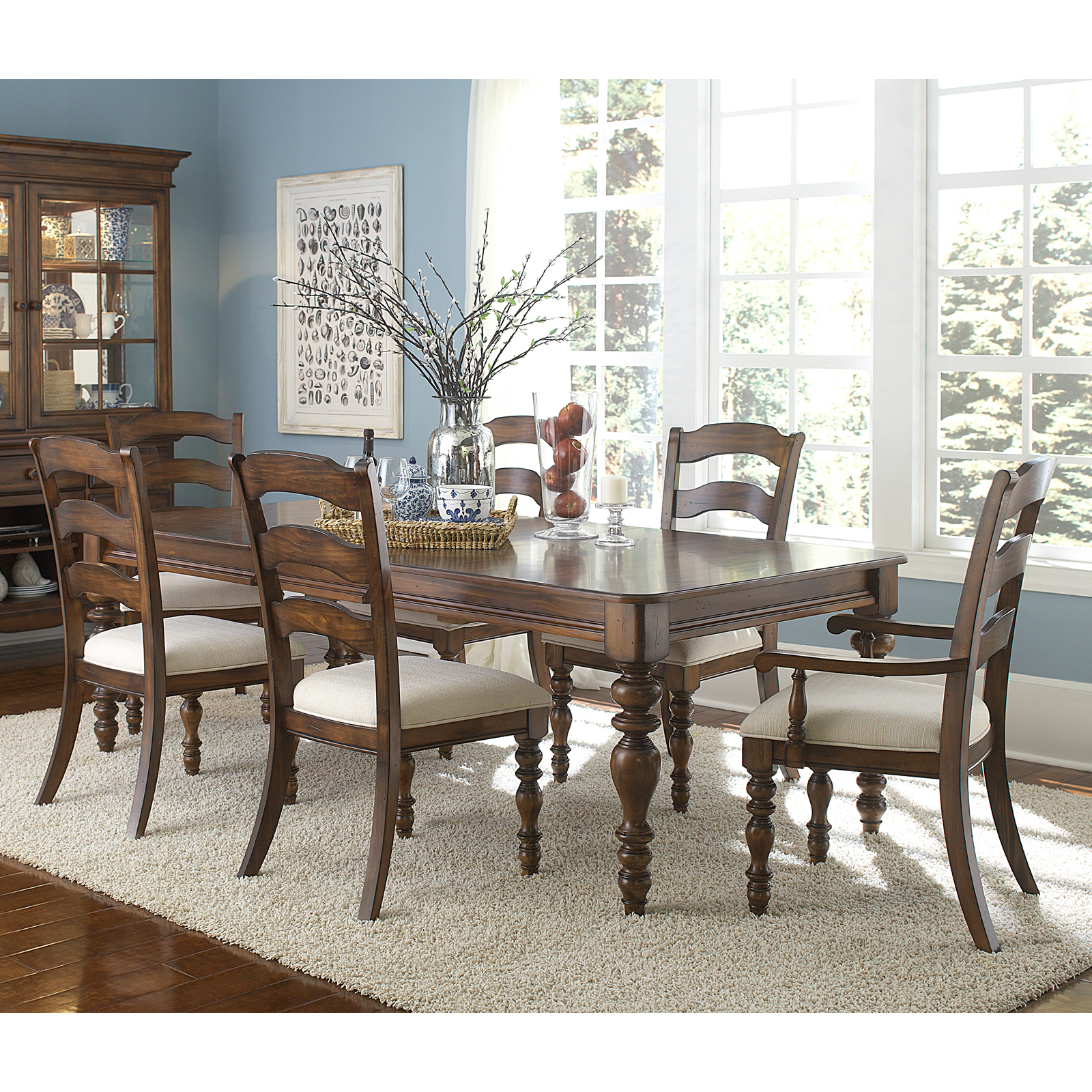 Hillsdale Furniture Hillsdale Pine Island 7 Piece Dining Table Set With  Ladder Back Side U0026 Arm