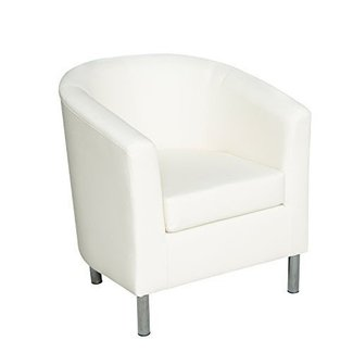 HomCom Modern PU Leather Tub / Barrel Club Arm Seat Chair - Ivory
