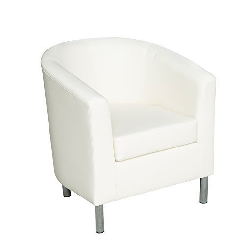 HomCom Modern PU Leather Tub / Barrel Club Arm Seat Chair   Ivory