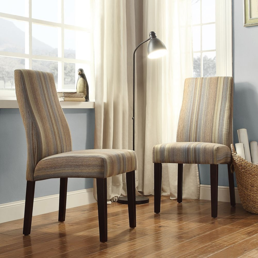 Inspire Q Inspire Q Eaton Wave Back Striped Fabric Parson Chairs   Set Of 2,