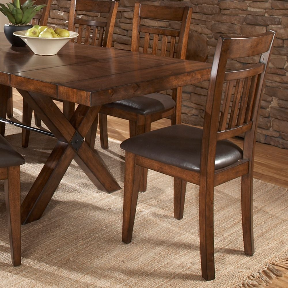 Inverness warm oak cushioned mission dining chair set of 2
