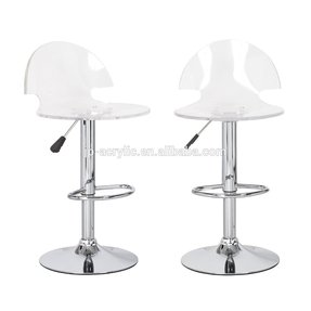 Joveco Clear Acrylic Adjustable Barstool Chair with Half Back, Chrome Finish, Pedestal Base - Set of 2