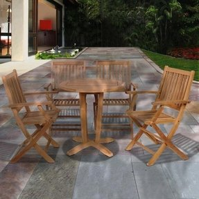 Kansas 5-Pc Teak Round Dining Set