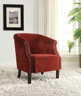 Linon Tyrone-Red Tufted Barrel Chair with Nail Heads
