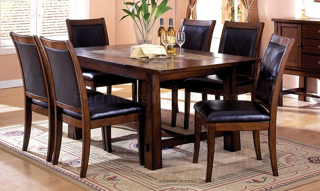 Living Stone Mission Style Marble Inserts Tobacco Oak 5 Piece Dining Room  Table Set