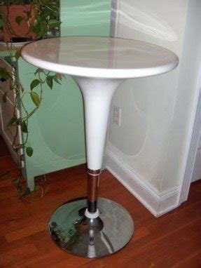 Modern tulip shaped bar cafe table white chrome adjustable height