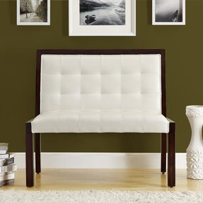 Monarch Monarch Wood Bench with Taupe Faux Leather Upholstery - Cappuccino