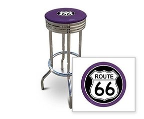 "New 24"" Tall Chrome Swivel Seat Bar Stool featuring Route 66 Theme with Purple Seat Cushion"