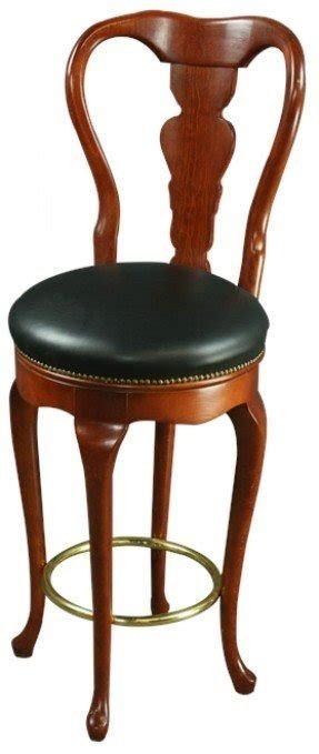 Pair Queen Anne New Swivel Bar Stools Faux Leather/Mahogany