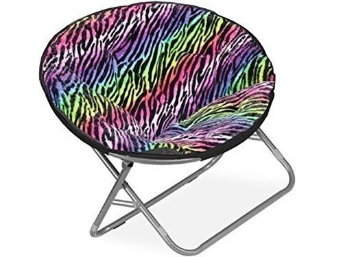 Plush Padded Folding Moon Saucer Chair For Kids And Adults. Large, Round,  Faux