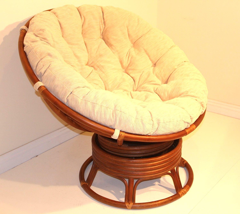 Genial Rattan Wicker Swivel Rocking Round Papasan Chair With Cushion White Wash