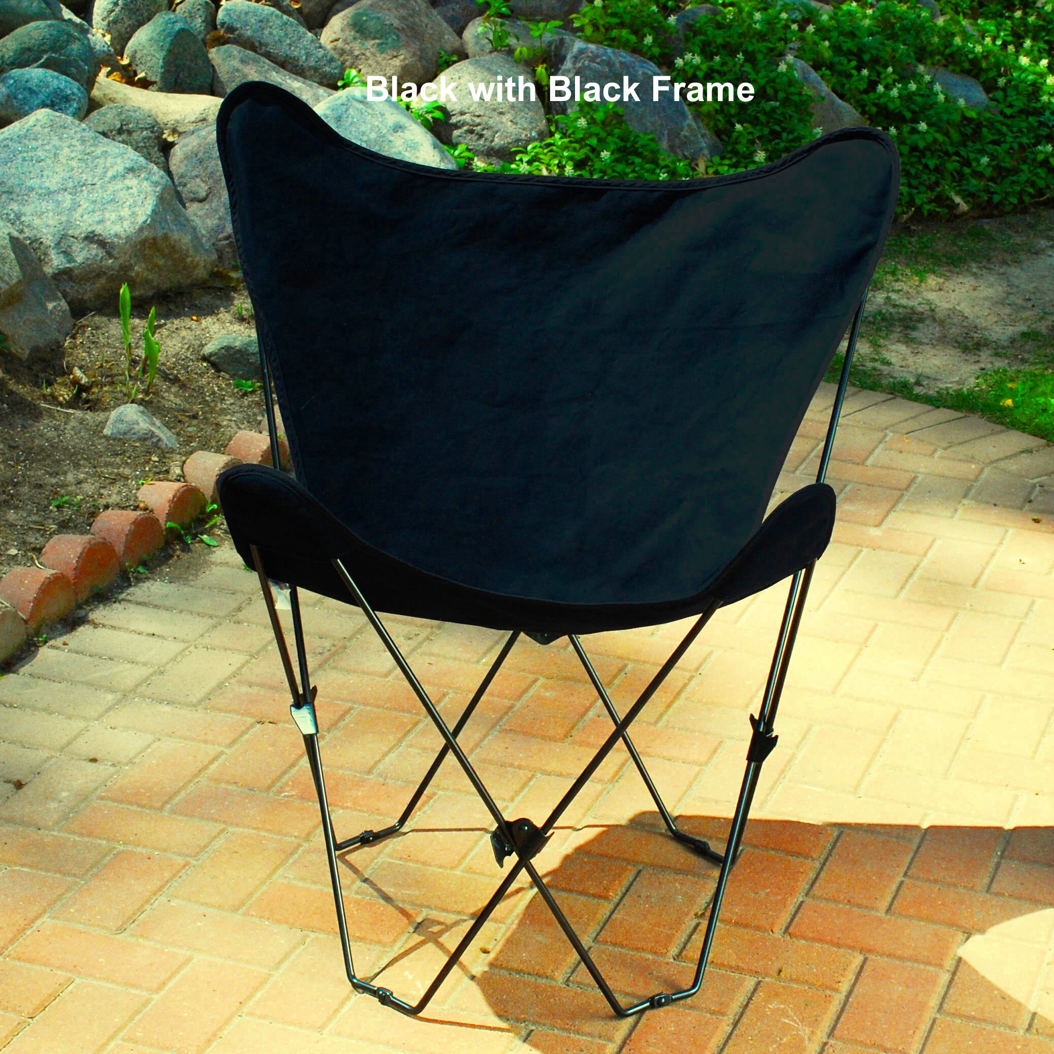 Retro Folding Butterfly Chair And Ebony Black Cover With Black Frame
