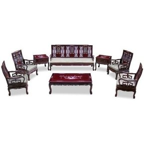 Rosewood Imperial Dragon Living Room Set (8Pcs)