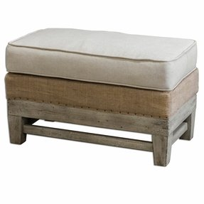Rustic Exposed Wood Cushioned Bench Ottoman