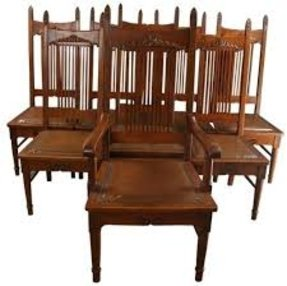 Set 8 Victorian Dining Chairs 1900 Oak Brown/Tan Faux Leather Boston