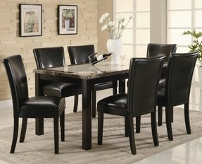 Set of 2 Black Upholstered Dining Side Chairs