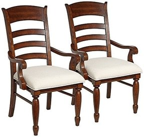 Set of 2 Blue Ridge Ladder Back Armchairs in Rustic Cherry