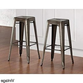 Set of 2 Bronze Tolix Style Metal Bar Stools in Glossy Powder Coated Finish