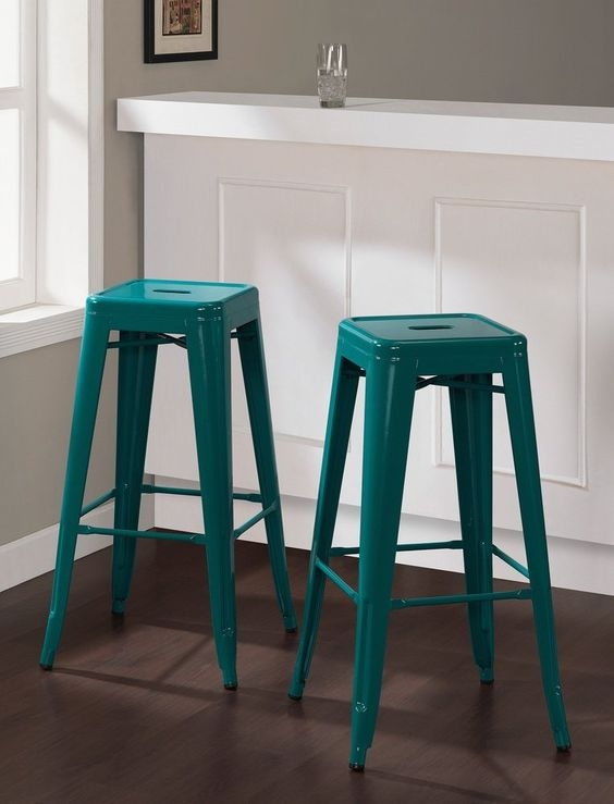 Set Of 2 Turquoise Tolix Style Metal Bar Stools In Glossy Powder Coated  Finish
