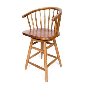 Solid Oak Hoop Back Swivel Bar Stool 24 Inches High