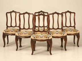 Spectacular Set Of 6 Original Antique Italian Oak Louis Xv Dining Chairs