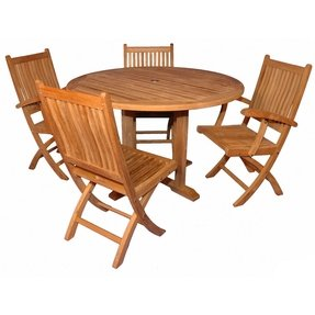 "Teak Dining Set Padua 48"", 2 Rockport w arms 2 wout SAVE"