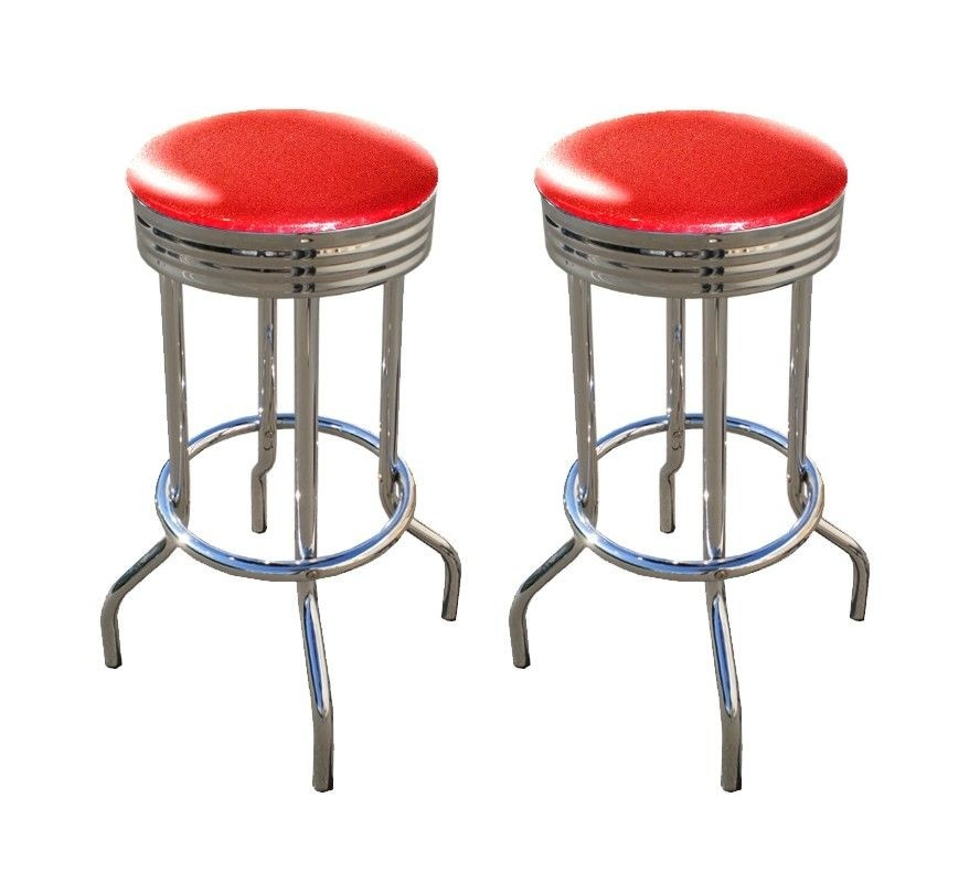 2 MAN CAVE Red Glitter Vinyl 29u0027u0027 Specialty Chrome Barstools Bar Stools