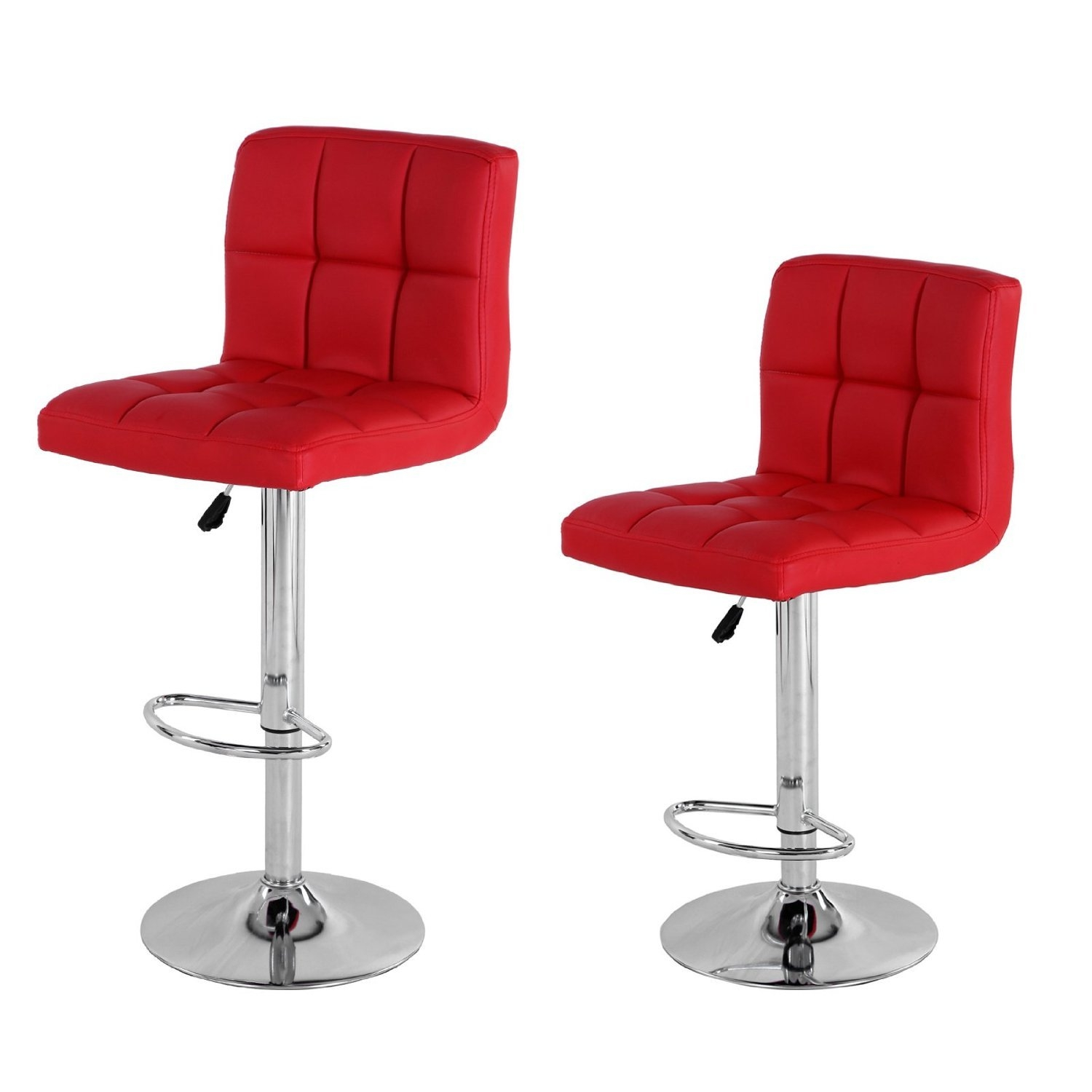 2 X PU Leather Hydraulic Lift Adjustable Counter Bar Stool Dining Chair Red   Pack Of