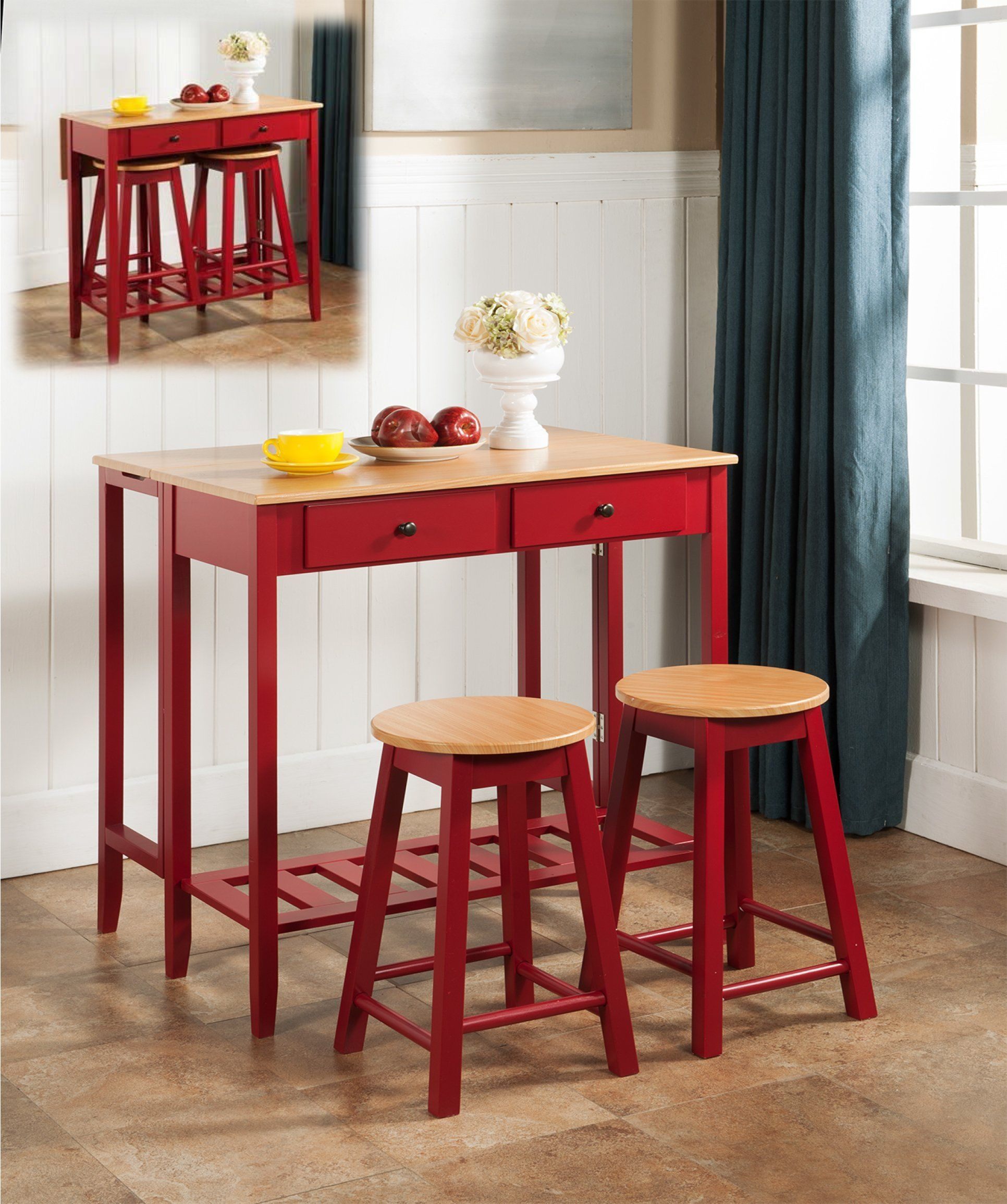 3 Pc. Kings Brand Kitchen Island Breakfast Bar Set Drop Down Table U0026 2  Stools