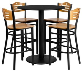 36'' Round Black Laminate Table Set with Wood Slat Back Metal Bar Stool and Natural Wood Seat Seats 4 [REST-0020-NW-BK-FS-TDR]