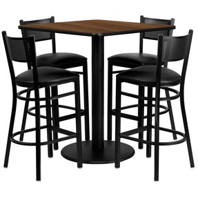 36'' Square Walnut Laminate Table Set with Grid Back Metal Bar Stool and Black Vinyl Seat Seats 4 [REST-0015-BK-WAL-FS-TDR]