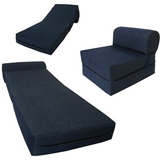6 Thick X 36 Wide 70 Long Twin Size Navy Sleeper Chair