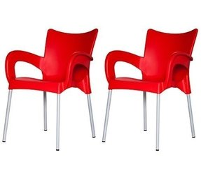 ARI Chair RED Set of (2) Plastic Indoor & Outdoor Cafe/restaurant/canteen