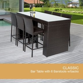 Bar Table Set With Barstools 7 Piece Outdoor Wicker Patio Furniture