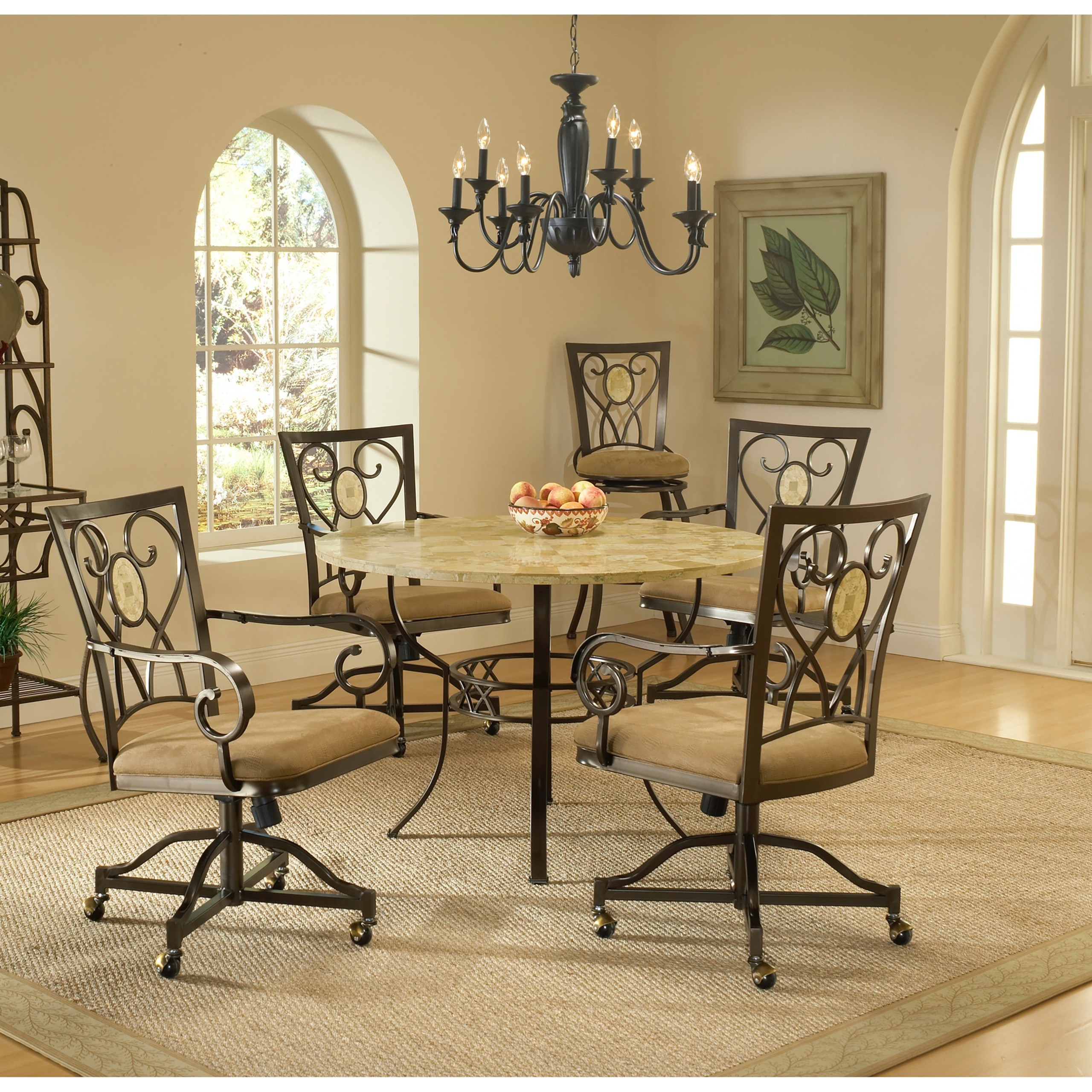 Brookside 5 Piece Round Dining Set With Oval Back Caster Chairs