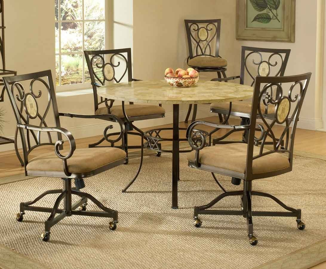 Brookside Round Dining Table With Oval Fossil Accent Caster Chairs By  Hillsdale Furniture