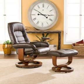Brown Leather Recliner and Ottoman Set. Very high quality with real leather
