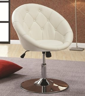 BTEXPERT® Round Back 360 Degree Swivel , Button Tufted & Tilt Tension Chair - White Hydraulic lift adjustable